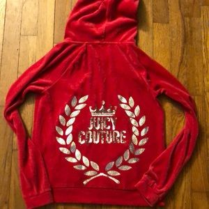 Juicy Couture red velour zip up hoodie